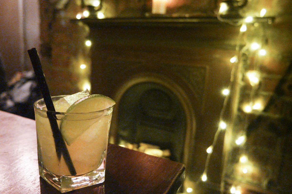 Simple margarita with fairy lights agave syrup