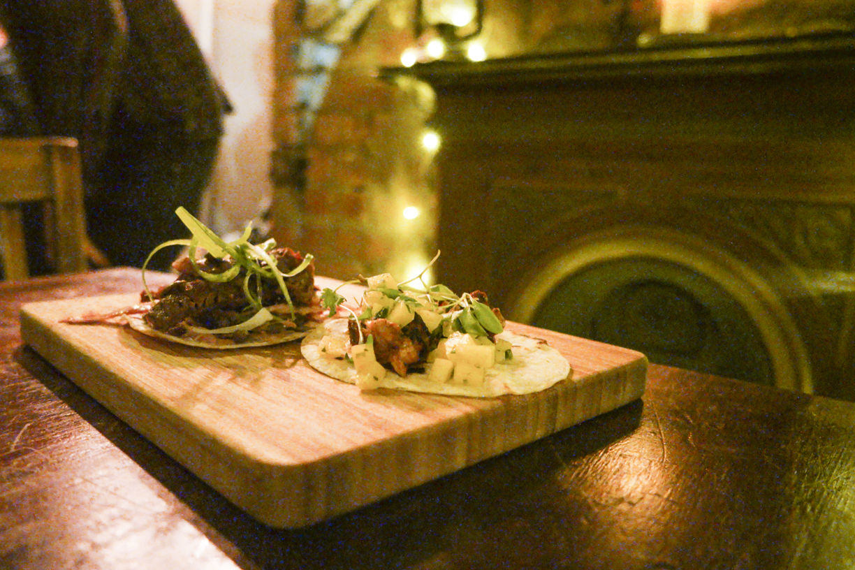 Images of Beef Tacos on a wooden board