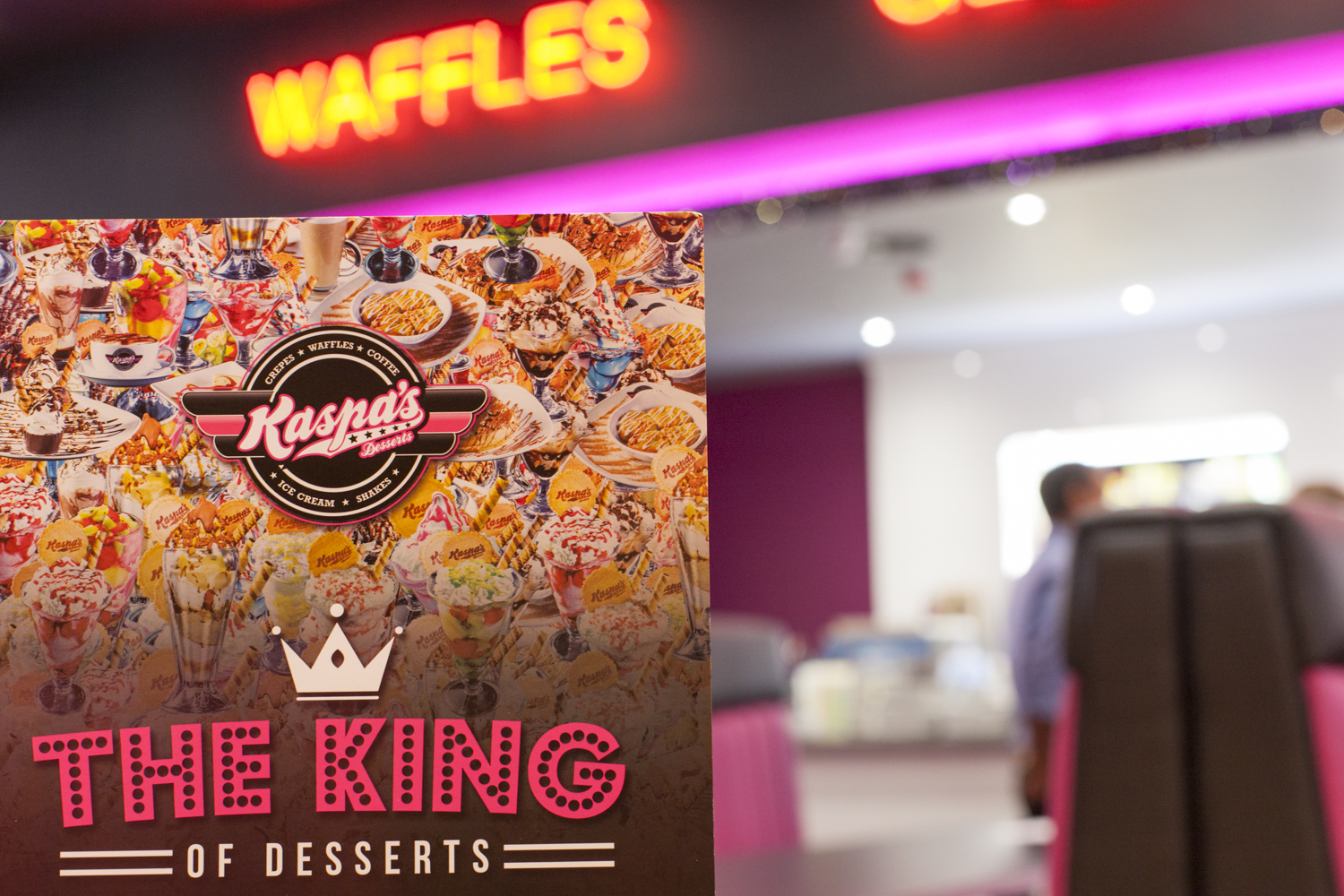 kaspas dessert menu the king of desserts with neon light spelling waffles