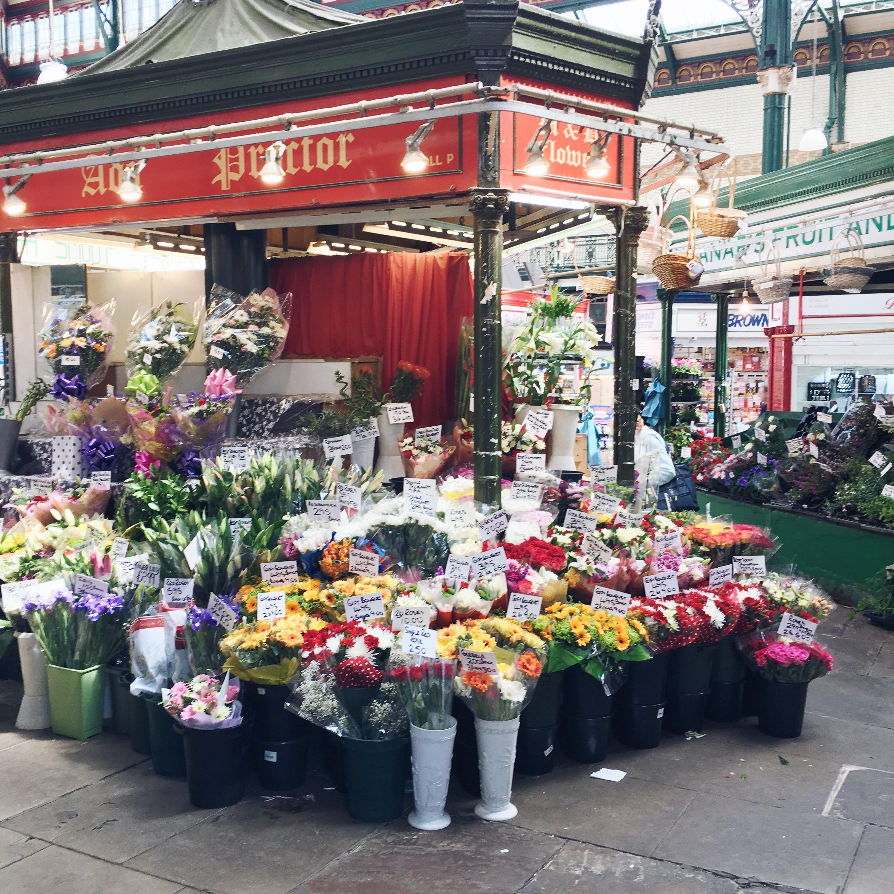 Leeds market flower stall