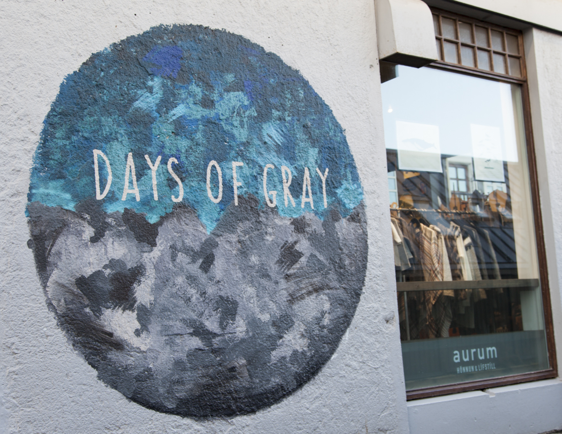 Days of great mural street art Reykjavik