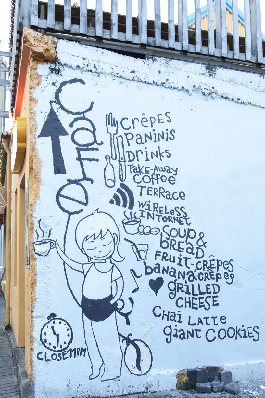 cafe sign Reykjavik street art