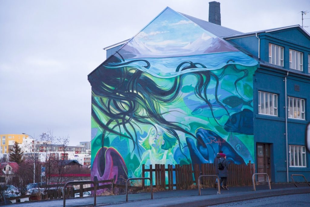 Reykjavik Street Art Ocean with octopus and whales