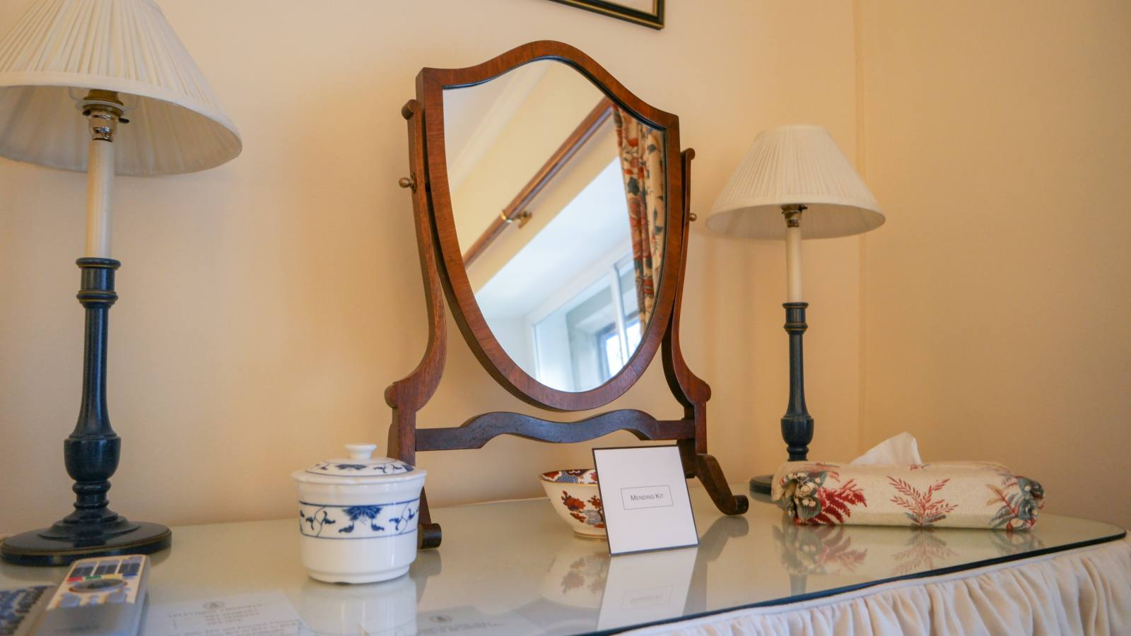 hotel, Bodysgallen Hall and Spa, national trust property, antique bedroom, retro, vintage, luxury hotel,  national trust, victorian, dressing table, eco friendly hotel