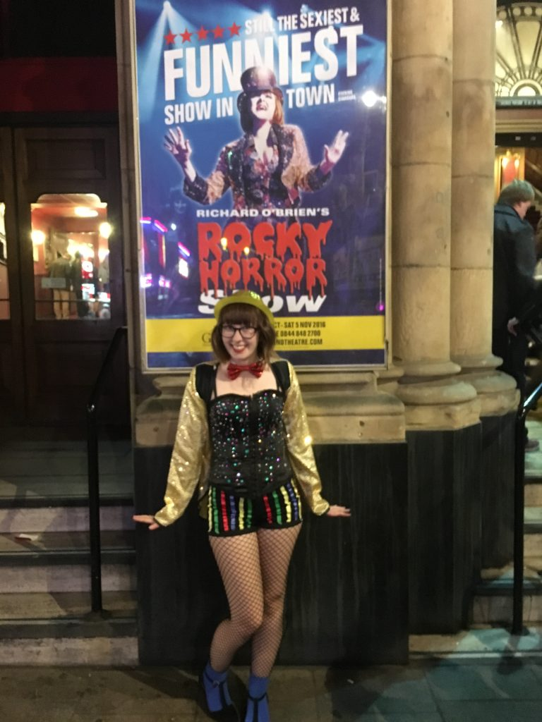 female in costume dressed as Columbia Rocky Horror Picture show