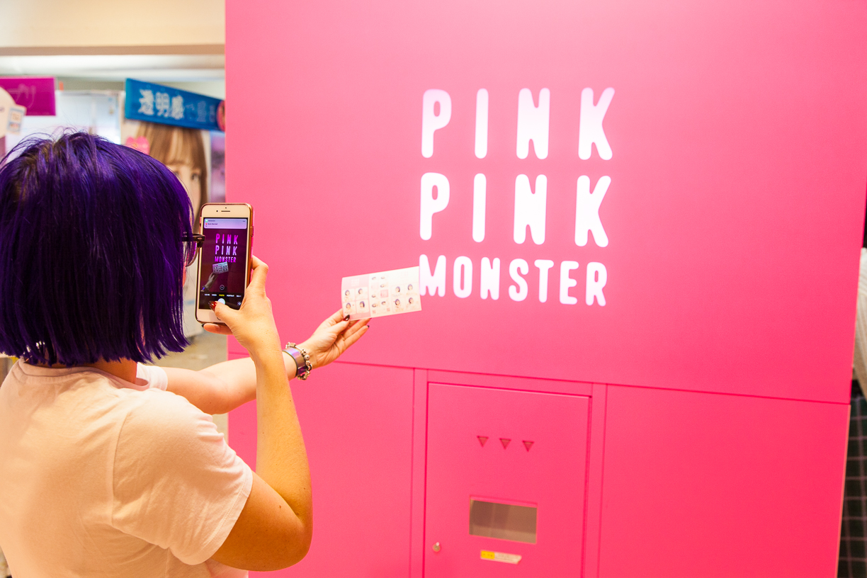 Pink pink monster Purikura Japense Photo booth