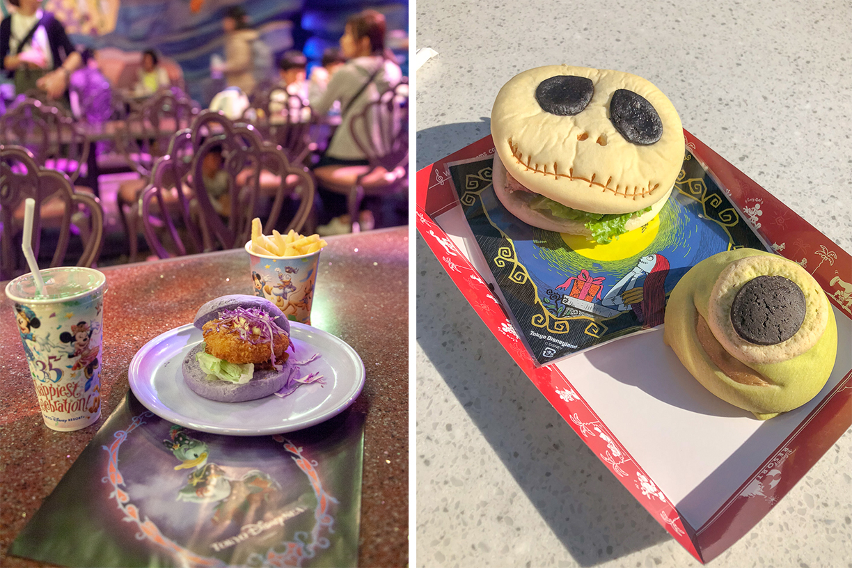 Disney Tokyo and Disneysea Ursula scollop burger and a jack skellington pastrami sandwich with mike melon cake on a halloween tray
