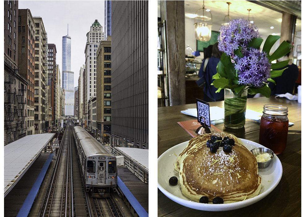 Trump tower from Adams and Wabash CTA Chicago and pancakes at capital coffee and eatery