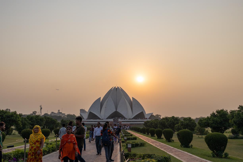The lotus temple at sunset Delhi India
