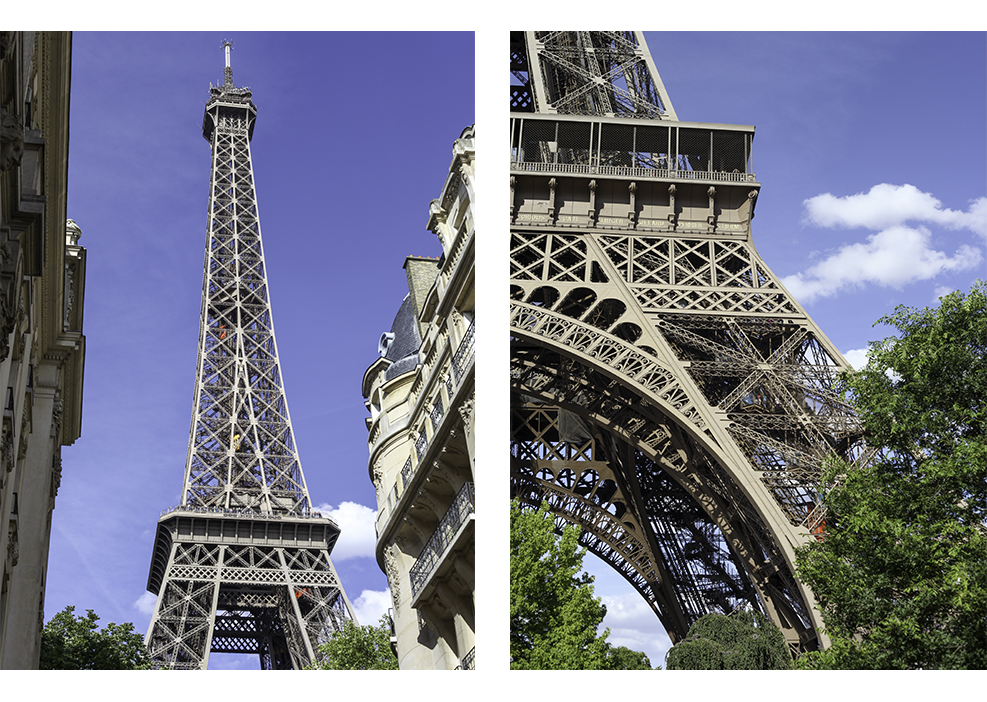 The Eiffel Tower against blue skies on a sunny day