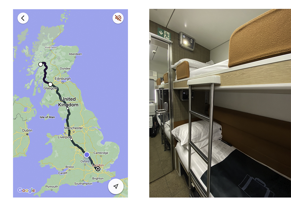 UK map showing the route of the Caledonian Sleeper train and the 2nd class bunk beds