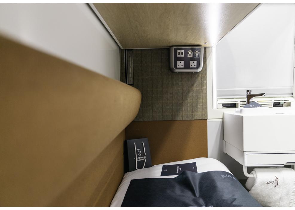 Lower bunk on the Caledonian Sleeper train